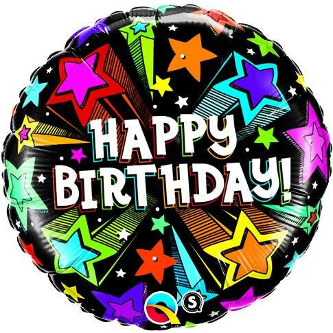 Colourful Shooting Stars - Foil Birthday Balloon