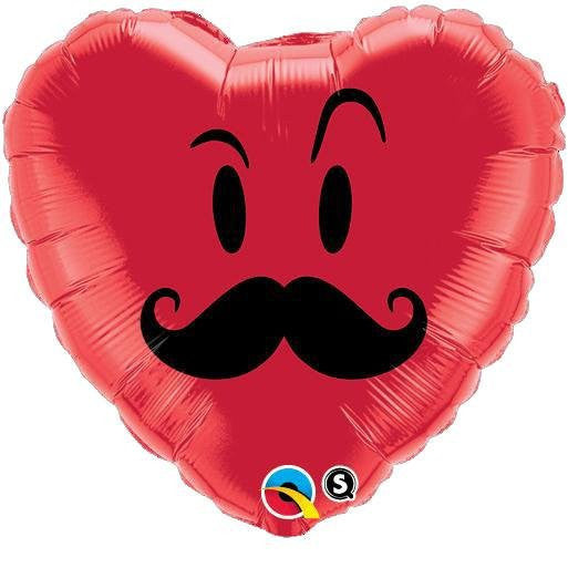 Mr Moustache - Heart Shaped Foil Balloon