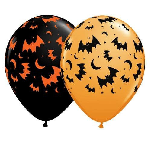 Flying Bats & Moons - Latex Balloons