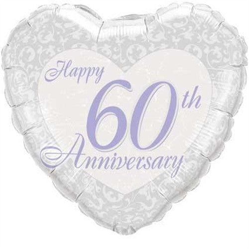 Happy 60th Anniversary Heart - Foil Balloon
