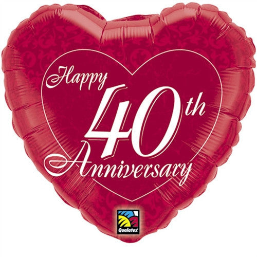 Happy 40th Anniversary Heart - Foil Balloon
