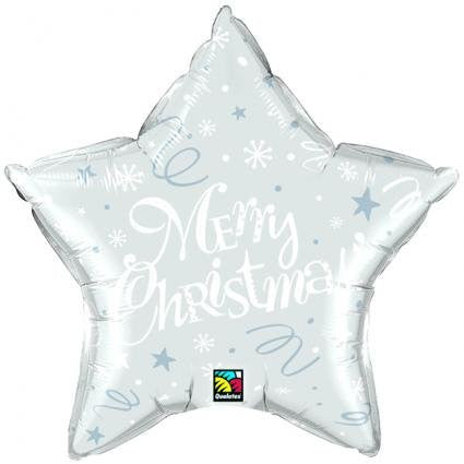 Foil Balloon - Festive Silver Merry Christmas