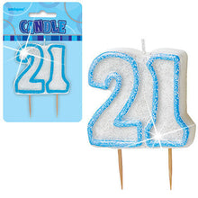 Blue Glitter Numeral Birthday Candles