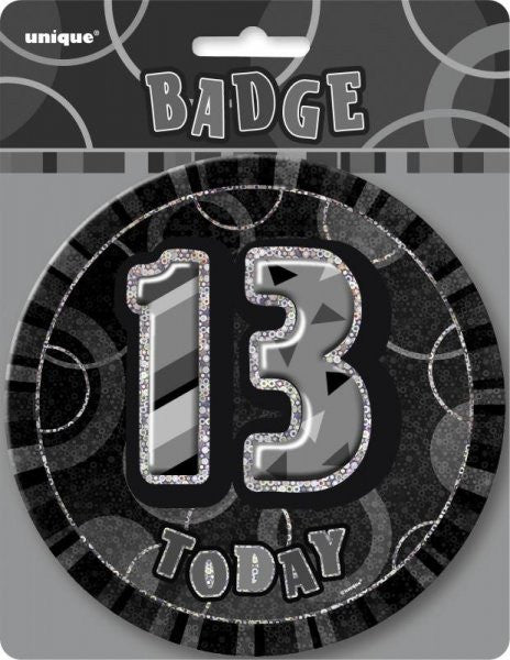 Glitz Black Birthday Badge black background wording 13 Today