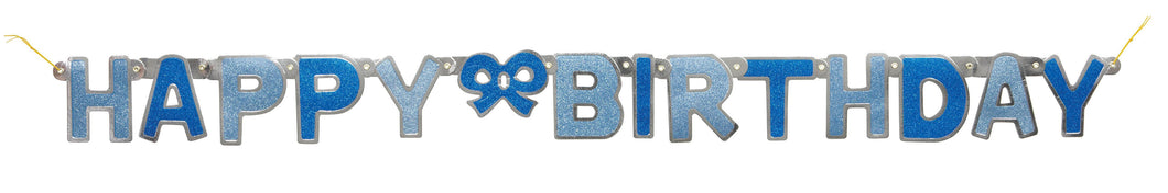 Blue Glitz Jointed Banner Happy Birthday