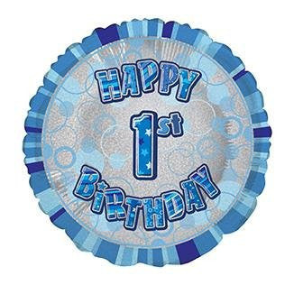 Round Prism 1st Birthday (Blue) - Foil Balloon