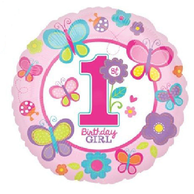 1st Birthday GIRL Foil Balloon bright and cheerful design