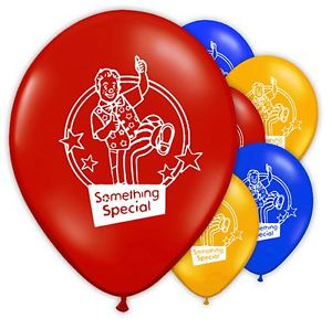 a group of latex balloons featuring mr tumble , red yellow and blue balloons.