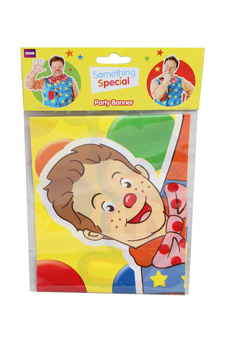 a banner featuring mr tumble on a multi coloured background