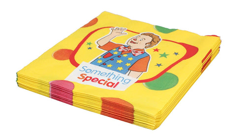 a pack of party napkins showing mr tumble in yellow and red