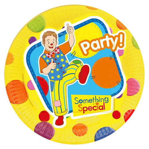 plate featuring mr tumble on a yellow background