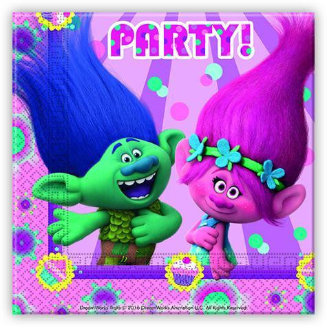20 Trolls Napkins are bright pink with Trolls design
