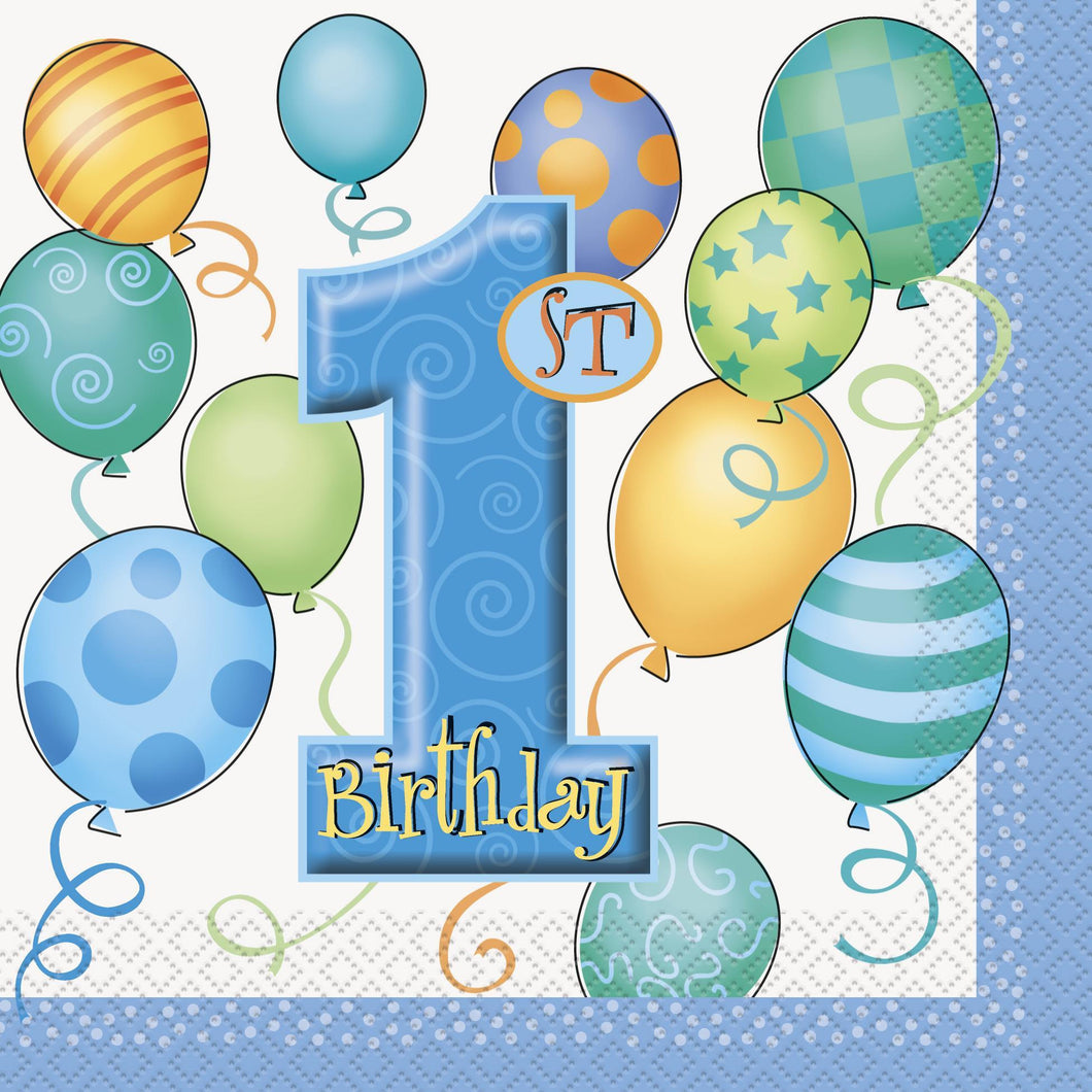 1st Birthday Blue Napkins are a bright and colourful design,