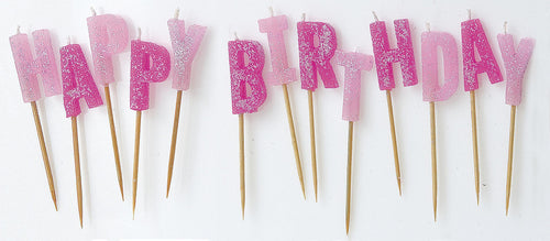 Glitter Happy Birthday Pick Candles