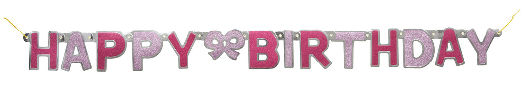 Glitz Jointed Banner 'Happy Birthday' Pink