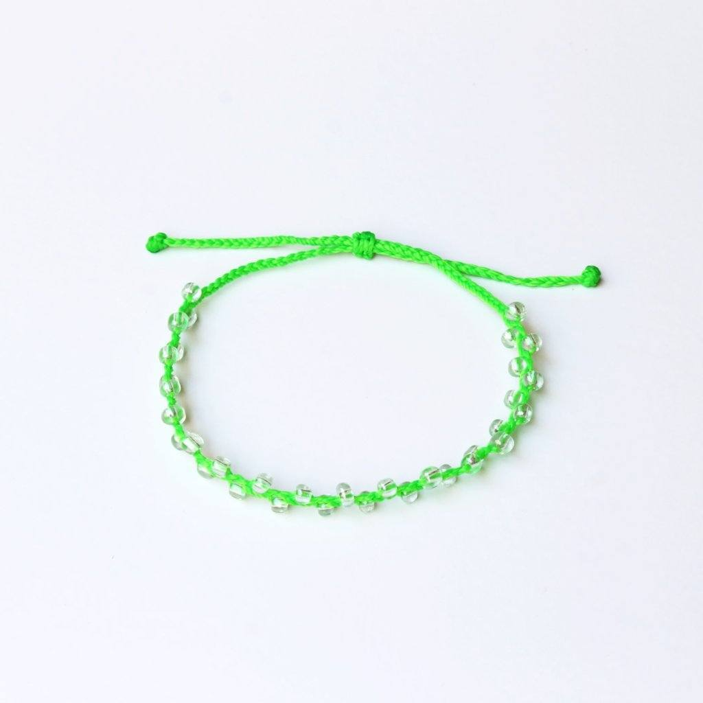 Neon Green Bubble Seed Beads Anklet