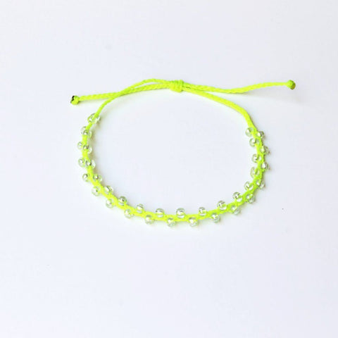 Neon Lime Bubble Seed Beads Anklet