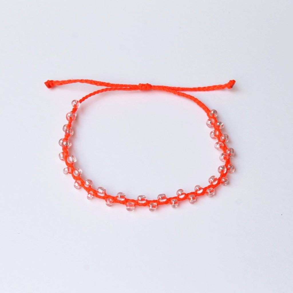 Neon Red Bubble Seed Beads Anklet