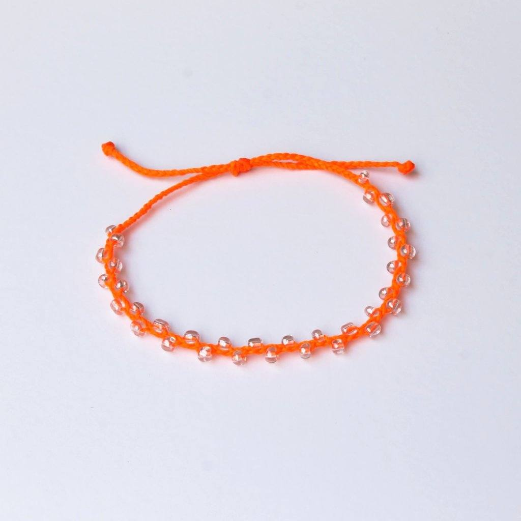 Neon Orange Bubble Seed Beads Anklet