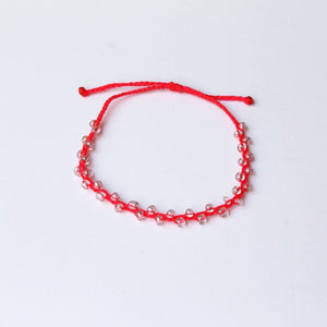 Neon Pink Bubble Seed Beads Anklet