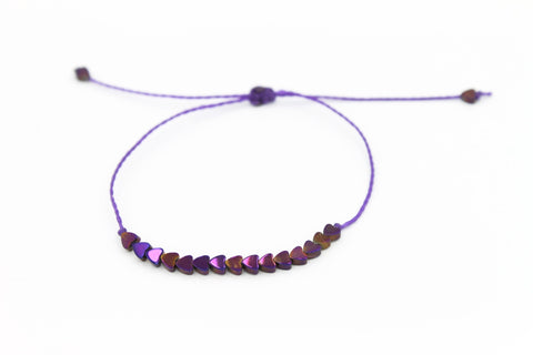 Purple Mini Hearts stone Bracelet