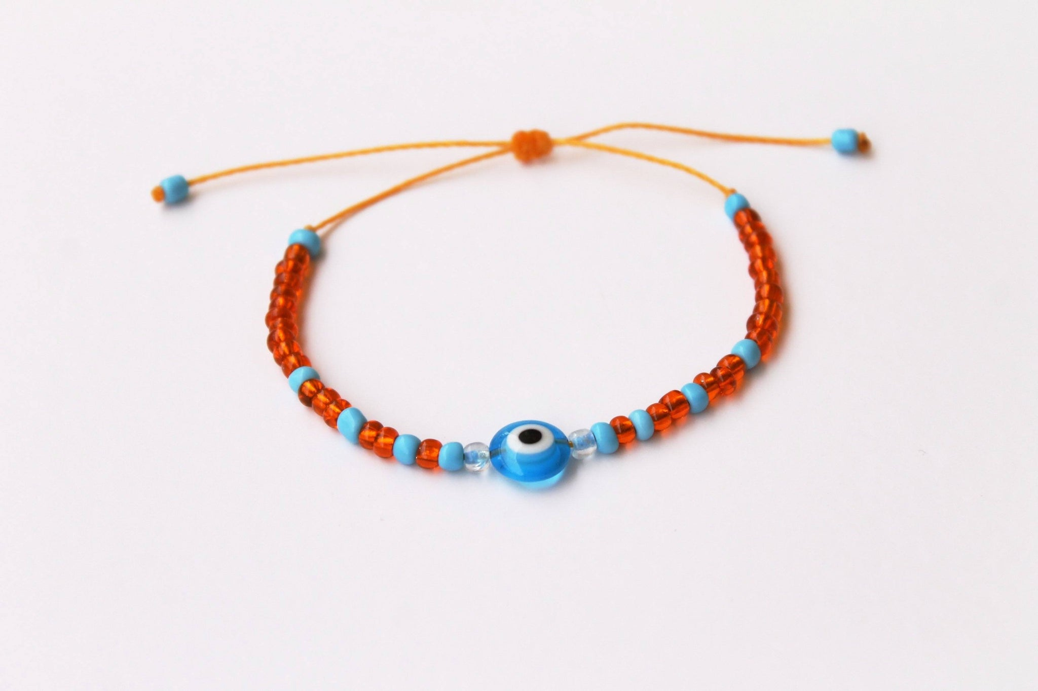3ain Zar2a Orange Glass Seed Beads Bracelet