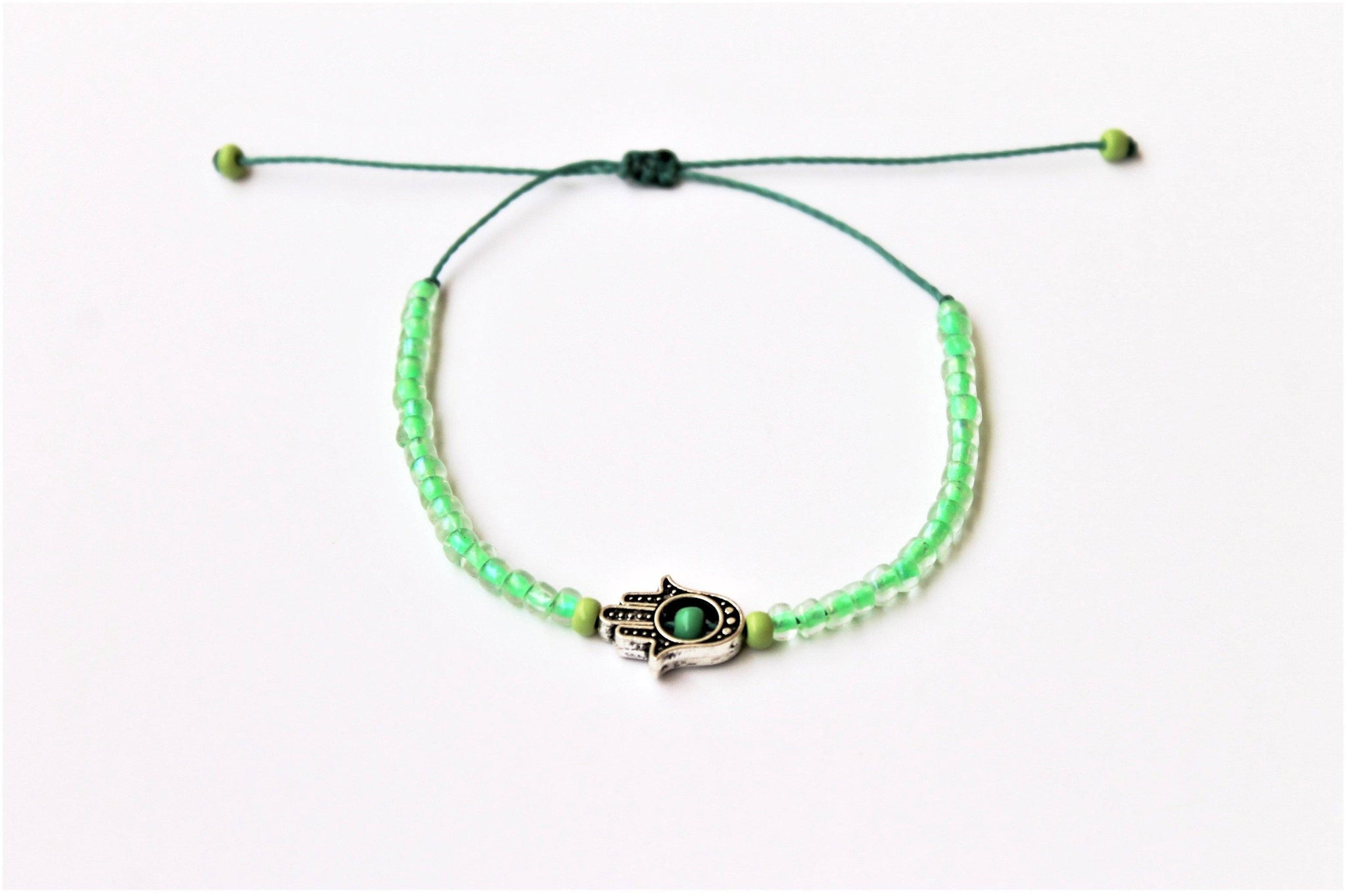 Glass Green Seed Beads with Kaf