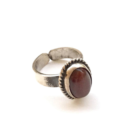 Oval Brown Silver Ring