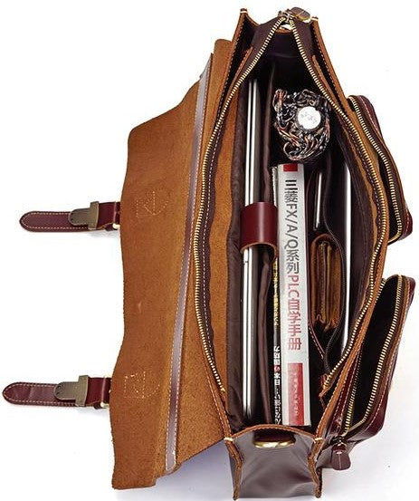 L-Brown Leather Laptop Bag - Everything At Right Place