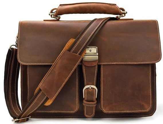 L-Brown Leather Laptop Bag - High Quality