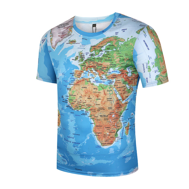 3D World Map Traveler Premium T-Shirt (Men)