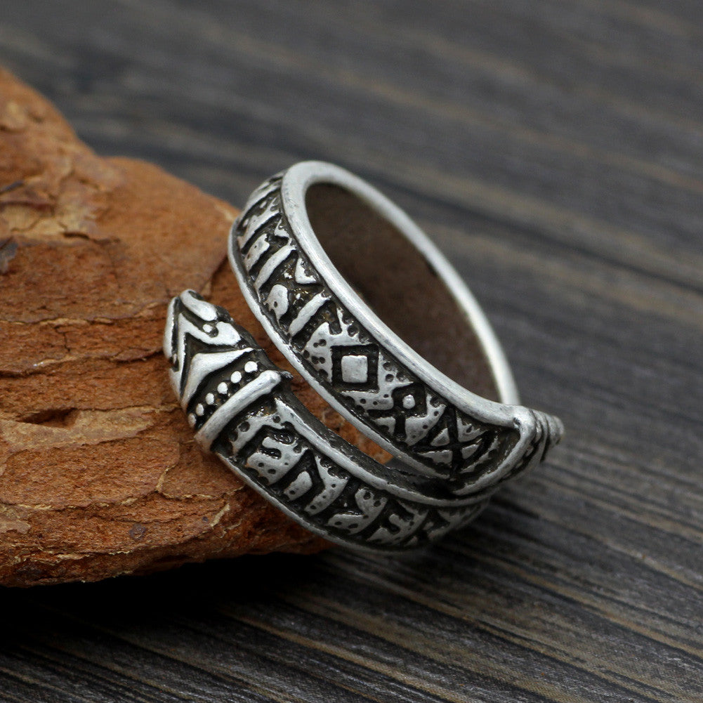 Norse Rune Dragon Antique Silver Plated Adjustable Ring