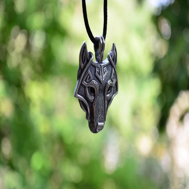 Norse Wolf Head Antique Sterling Silver Plated Necklace