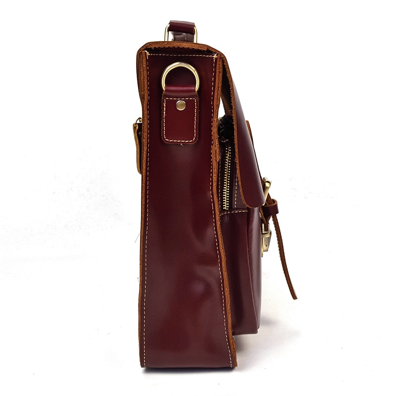 L-Brown Leather Laptop Bag - IM5