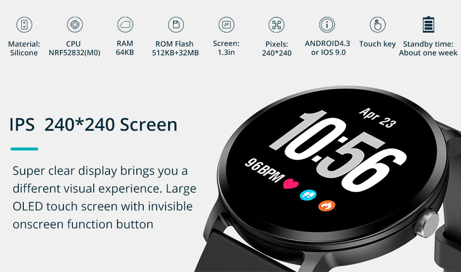 Bluetooth Smartwatch Andriod iOS Compatible - OLED Touch Screen