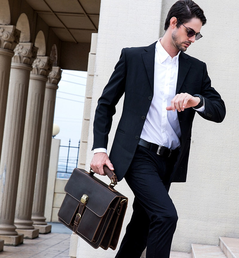 D-Brown Leather Laptop Bag - In Action