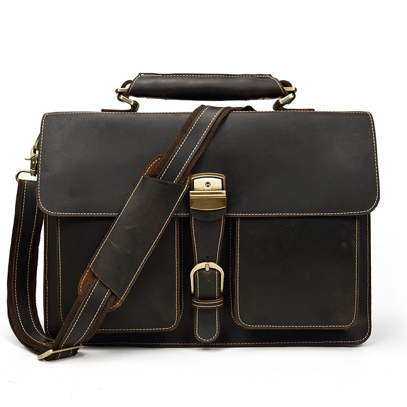 D-Brown Leather Laptop Bag - IM1