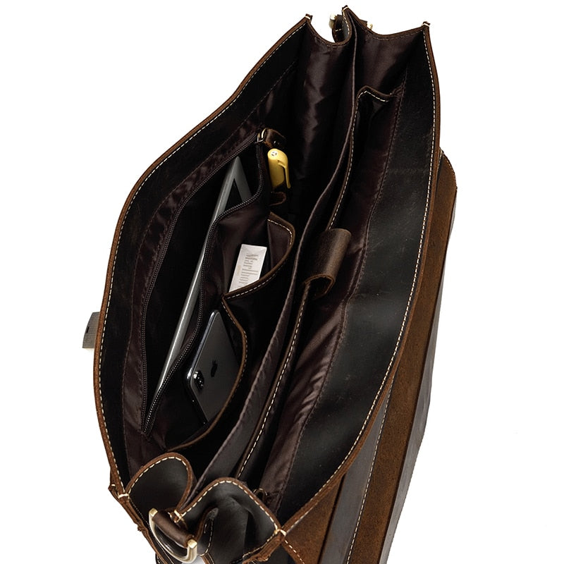 D-Brown Leather Laptop Bag - IM5