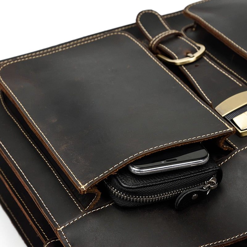 D-Brown Leather Laptop Bag - IM10