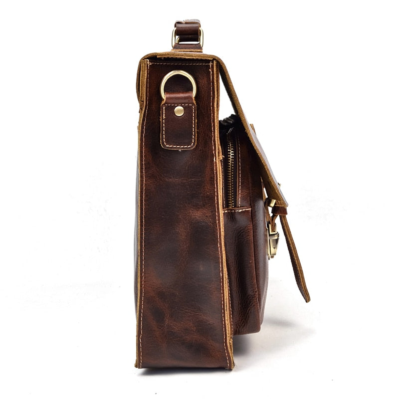 L-Brown Leather Laptop Bag - IM7