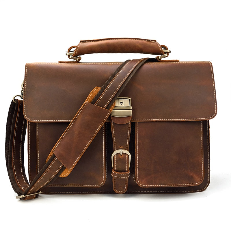 L-Brown Leather Laptop Bag - IM1