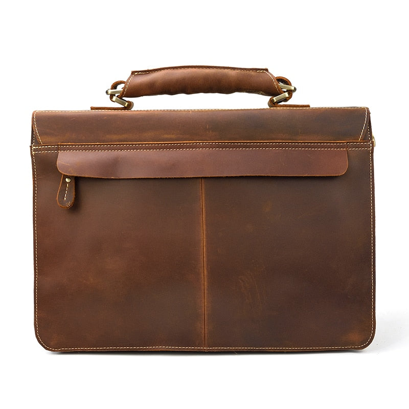 L-Brown Leather Laptop Bag - IM3