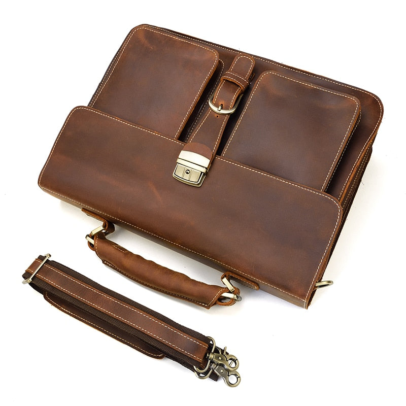 L-Brown Leather Laptop Bag - IM2