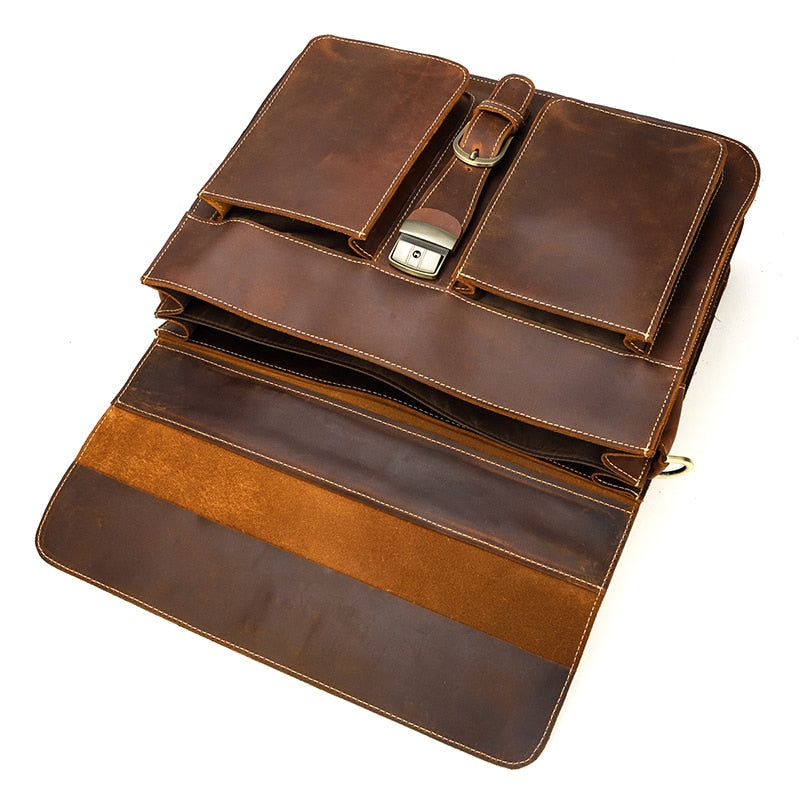 L-Brown Leather Laptop Bag - IM6