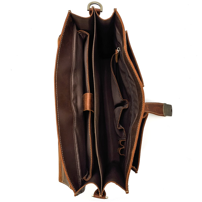 L-Brown Leather Laptop Bag - IM4