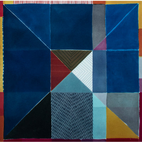 Jane Keith Colour Block grid 100% wool 840mm x840mm x 45mm stretched panel