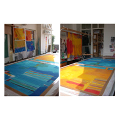 Studio shots showing working in progress of the Essaouira wallhangings being created.