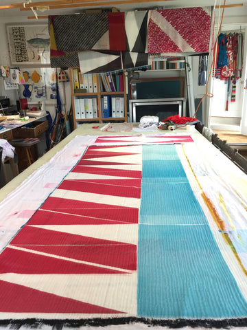 Jane Keith cashmere scarf drying on table after printing