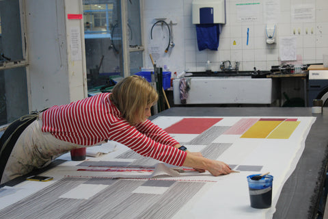Jane Keith printing cashmere on large print table in #DJCAD