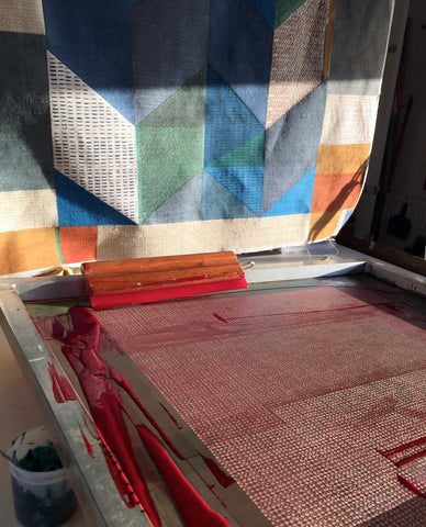 Jane Keith - screen printing in process